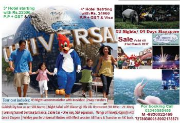3 nights & 4 days in Singapore with Universal Studio & Sentosa tours